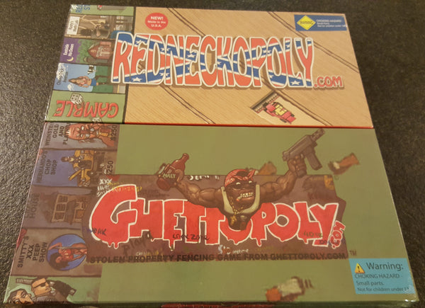 Buy Ghettopoly and Redneckopoly and save. For a limited time buy 1 Ghettopoly Board Game and get 1 Redneckopoly Board Game for just $34.95. Mint, New. Still Shrink Wrapped.