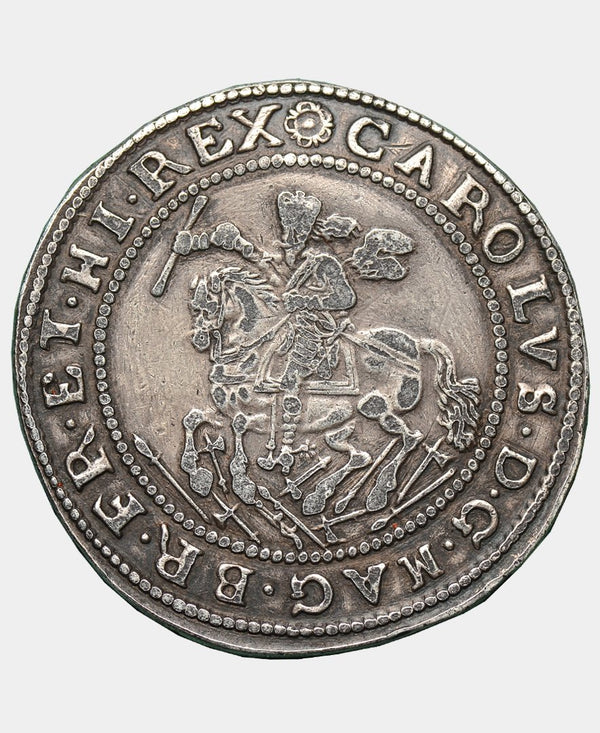 1642 CHARLES I EXETER MINT GALLOPING HORSEMAN HALFCROWN