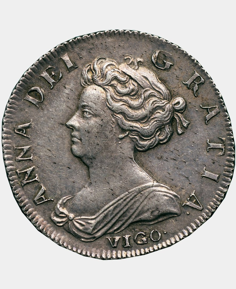 1703 3 over 2 Queen Anne VIGO Shilling - A NEW UNPUBLISHED DISCOVERY - Mhcoins