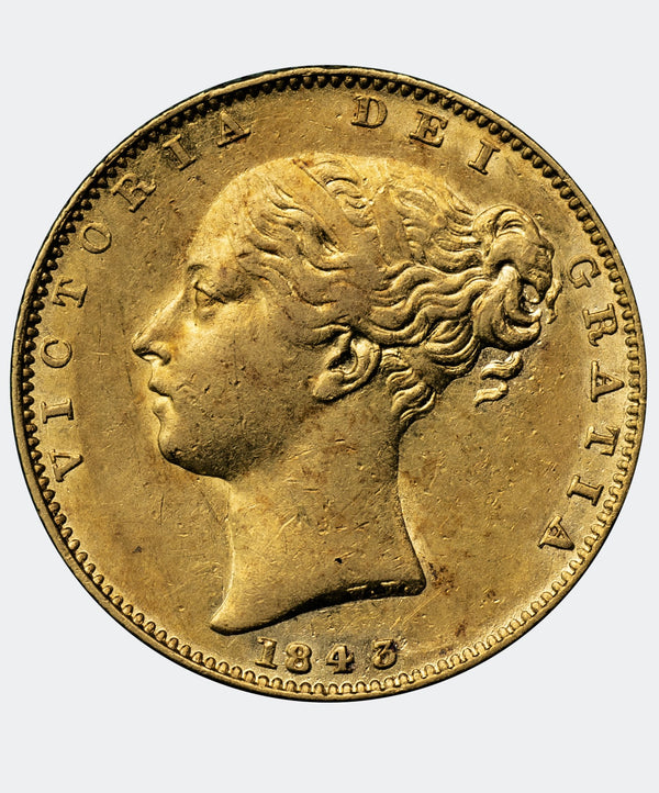 1843 Victoria 3 struck over Inverted 2 Full Gold Sovereign