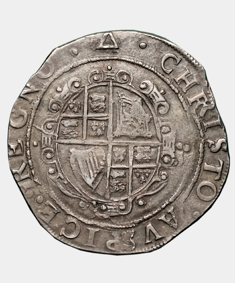1639-40 Charles I, typ 3a2 mm Triangle over Anchor Halfcrown