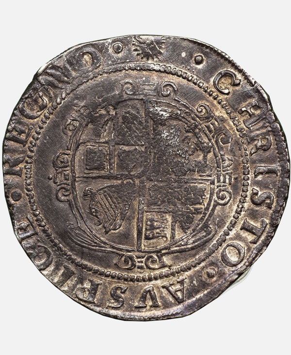 1645 Charles I Tower Mint mm Sun over Eye Halfcrown with  CAROLVS struck over CHRISTO !