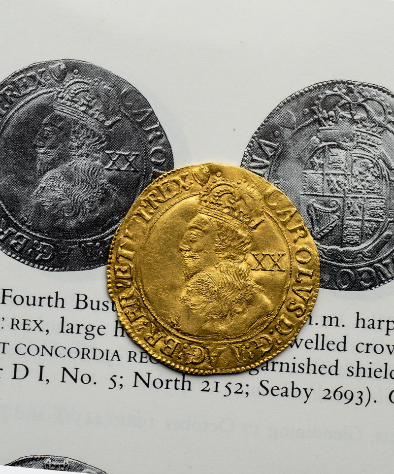 1632-3 Charles I Tower Mint mm harp Unite - Mhcoins