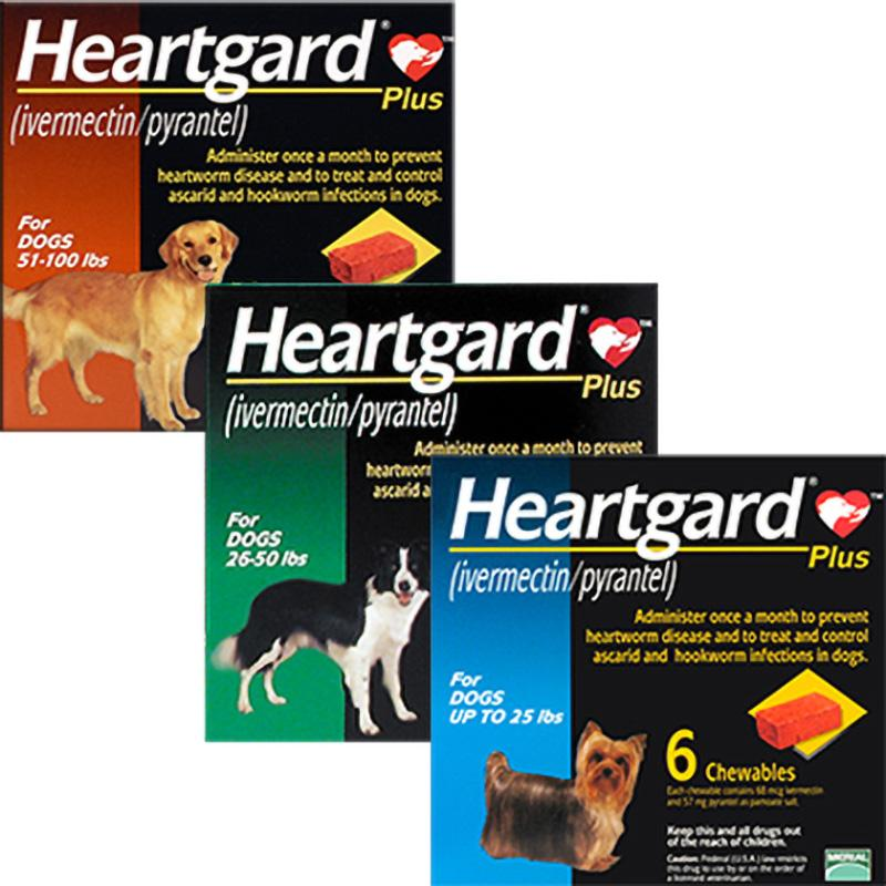 6Pcs Heartgard Chewables For Dog Heartworms Roundworms & Hookworms