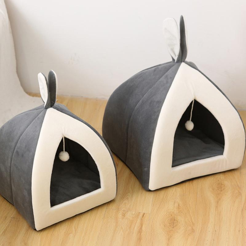 Cat Bed Indoor Kitten House Collapsible Cat Cave