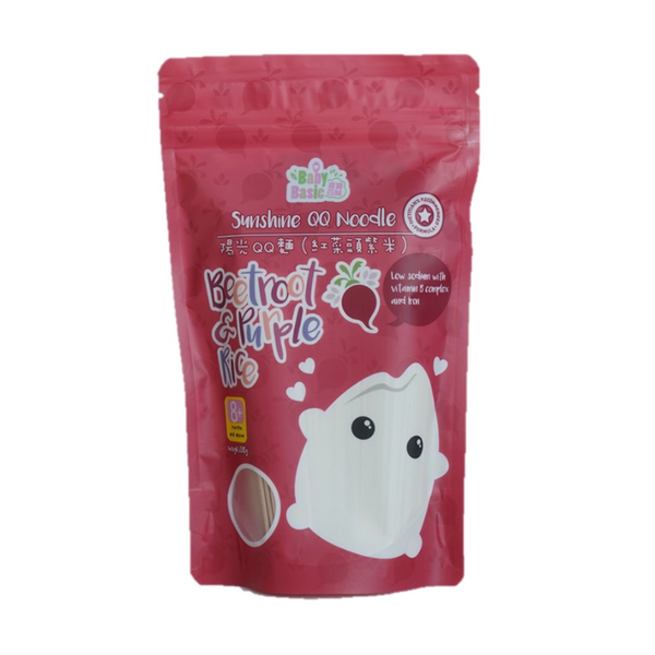 Baby Basic Sunshine QQ Noodle – Beetroot & Purple Rice (220g)