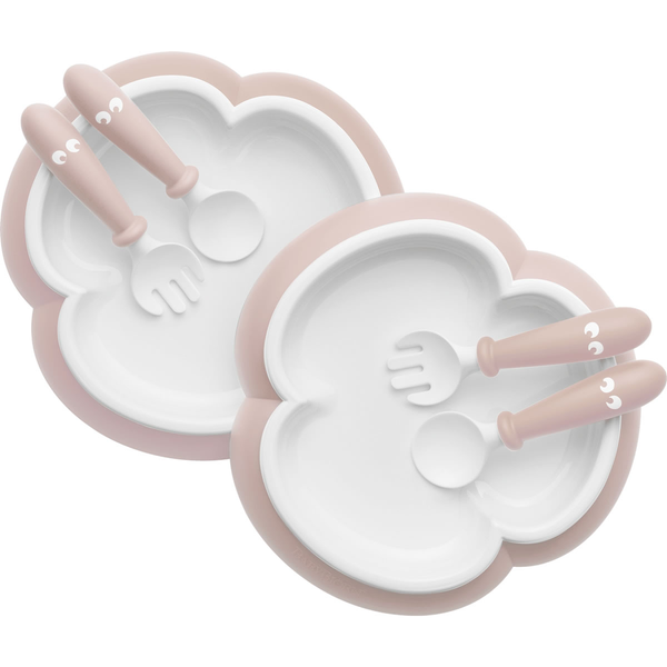 BABYBJORN BABY PLATE, SPOON AND FORK-2 SETS-POWDER PINK| BABY SOPHIE