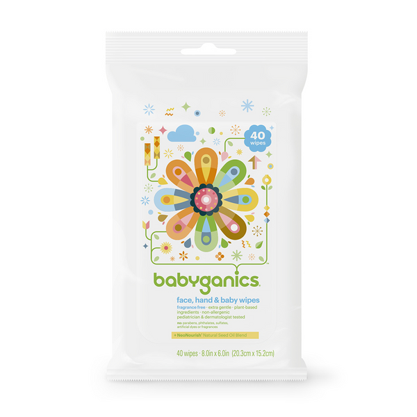Babyganics Face, Hand & Babywipes 40 Ct/Pack (Fragrance Free)