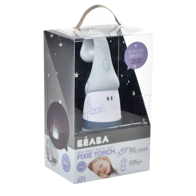Beaba Pixie Torch 2-In-1 Moveable Night Light - Mineral (USB Recharge)