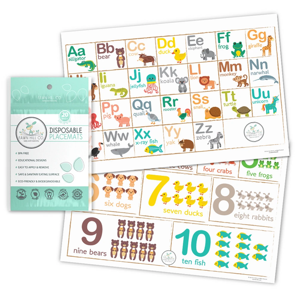 Disposable Placemats (60 Counts) - Abc, Numberes And Animals Pattern
