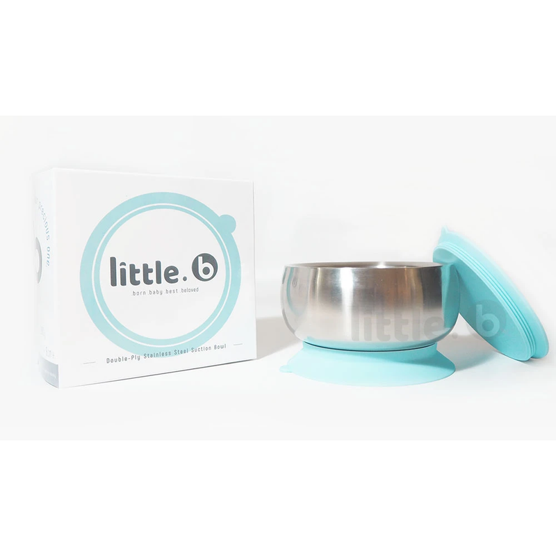 Little B Double-Layer 316 Stainless Steel Suction Bowl 330ml – Blue