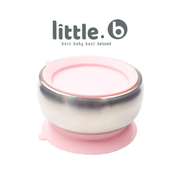Little B Double-Layer 316 Stainless Steel Suction Bowl 330ml – Pink