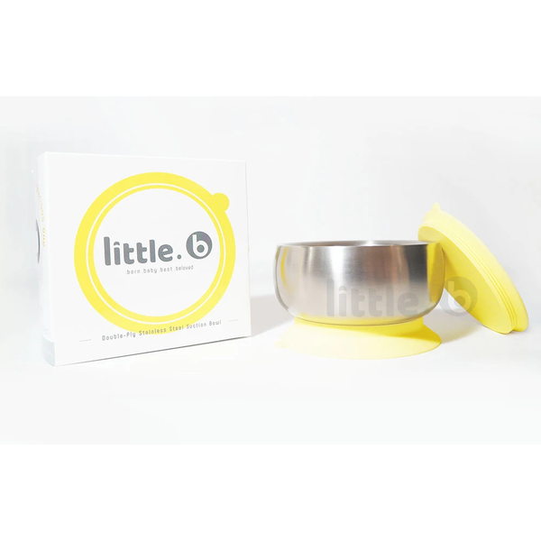 Little B Double-Layer 316 Stainless Steel Suction Bowl 330ml – Yellow