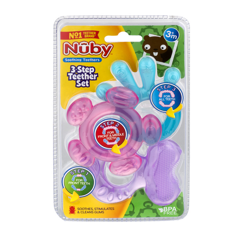 Nuby 3-Step Silicone Teether Set - Aqua/Pink/Purple