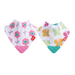 NUBY BANDANA BIB WITH TEETHER 2PCS/PACK - PINK FLOWER & GREEN BUTTERFLY