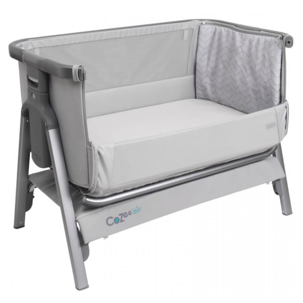 Tutti Bambini Cozee Air Bedside Crib (With Rocking Feet) Space Grey And Slate