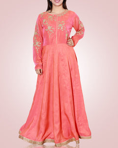 Pink A Lined Tunic With Gold Embroidery