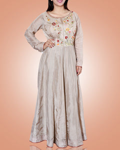 Beige A Lined Tunic With Embroidered Floral Patterns