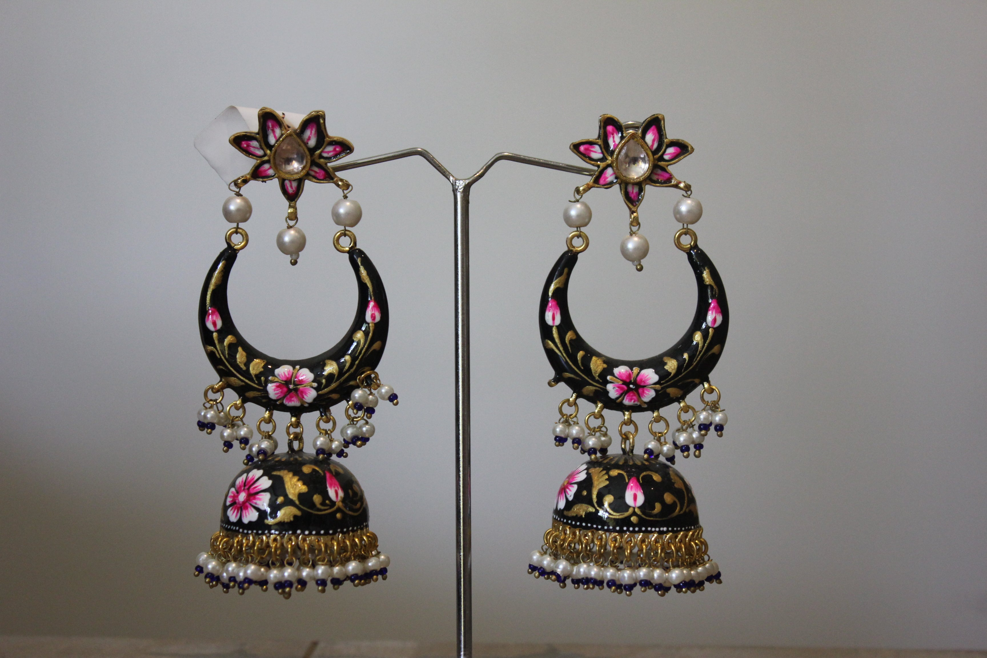 Black And Pink Floral Enamel Jhumka Earrings