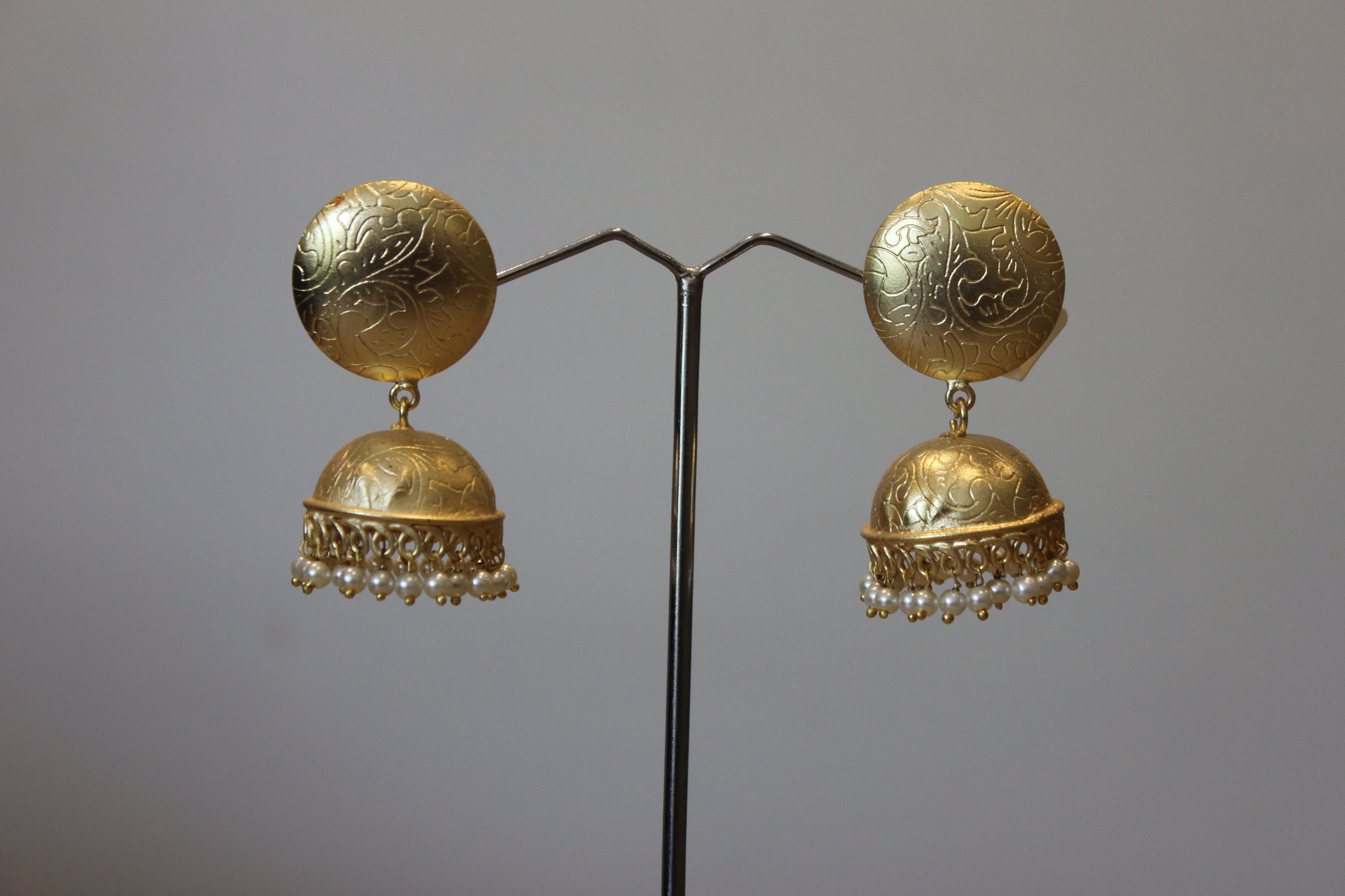 Gold Plated Jhumka Earrings With Pearls