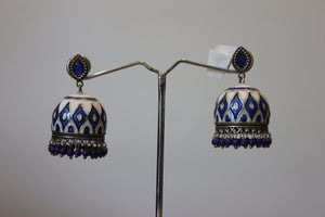 Blue And White Enamel Jhumka Earrings