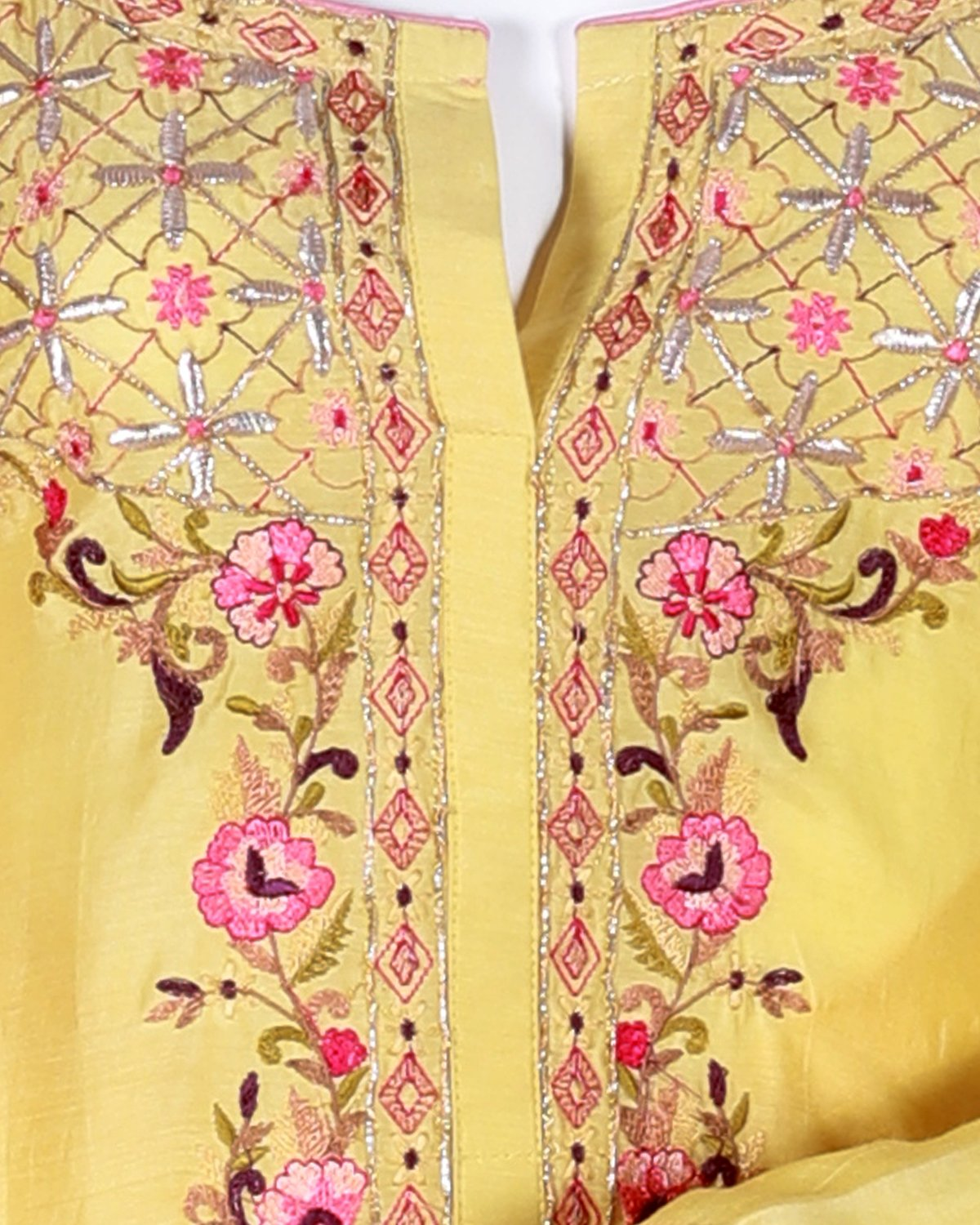 cotton silk/mudal embroided suit with gotta work