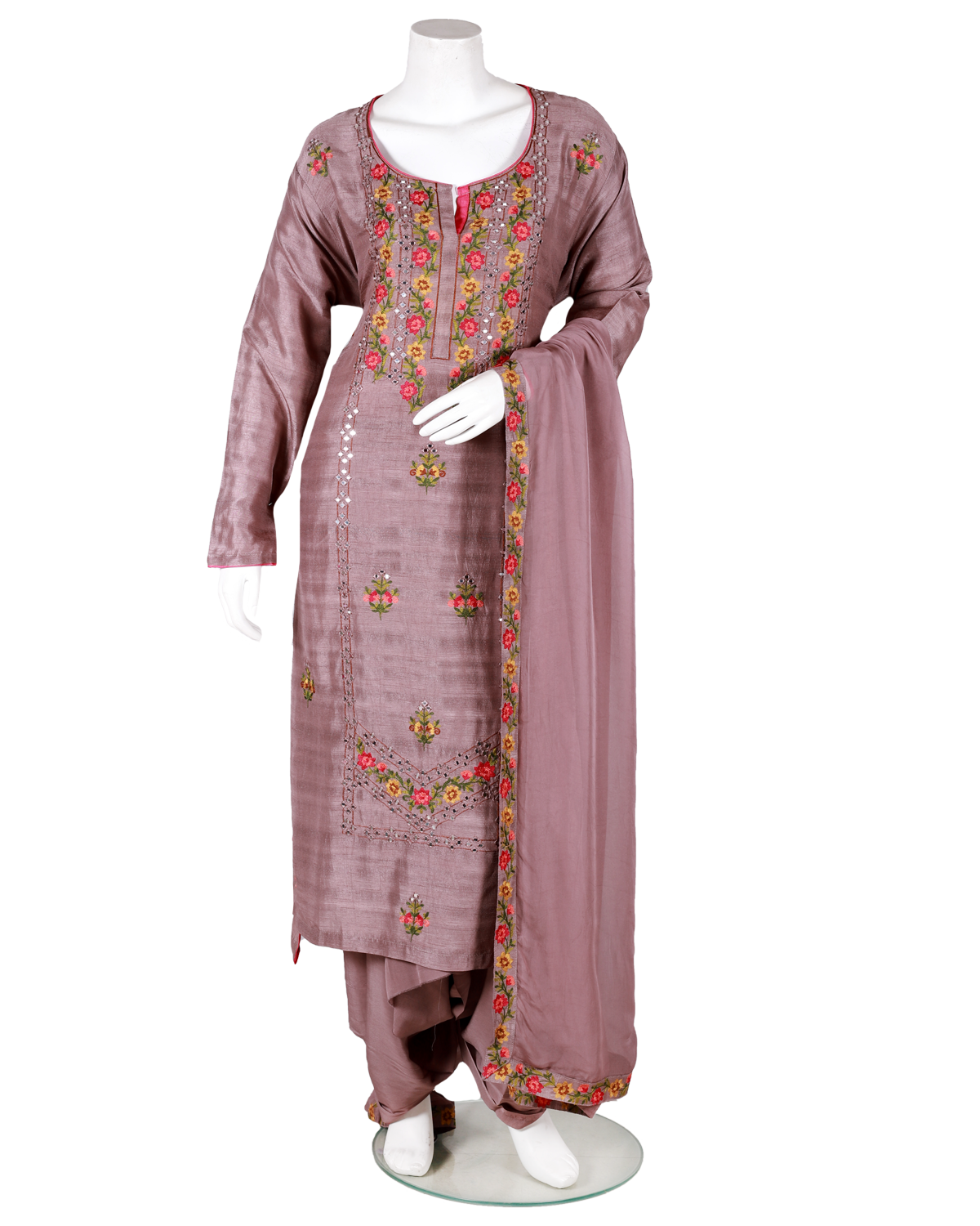 embroidery and sheesha work tussar suit