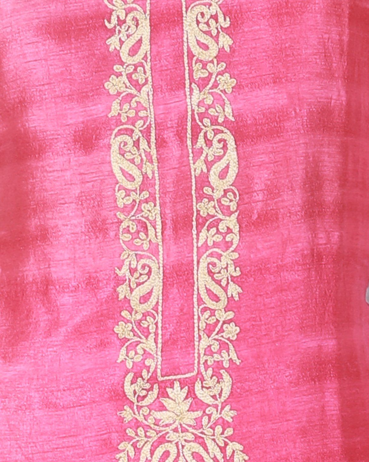 tussar suit with hand-done dori work and block print dupatta