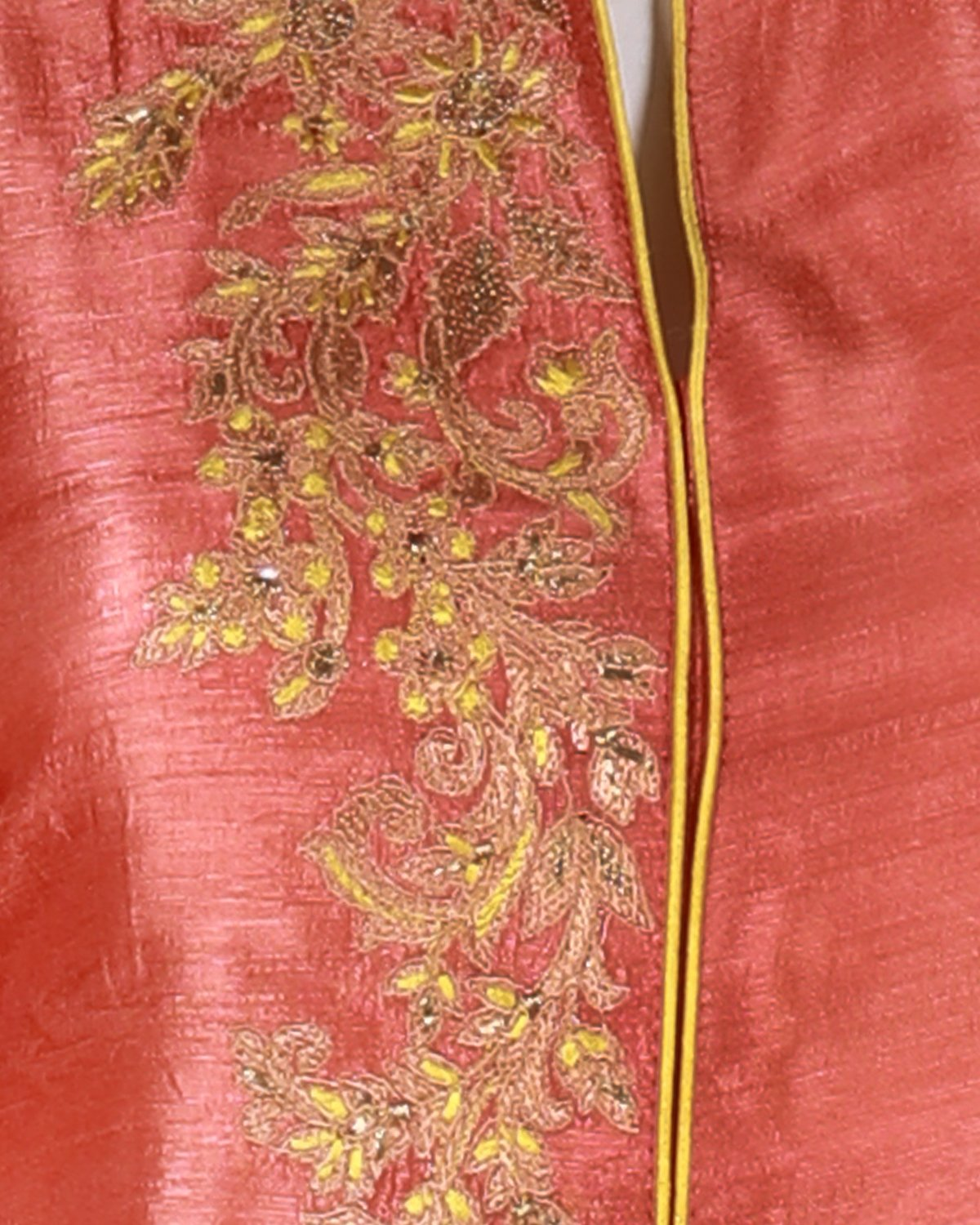tussar suit with embroidery work and contrast banarasi zari woven chiffon dupatta.