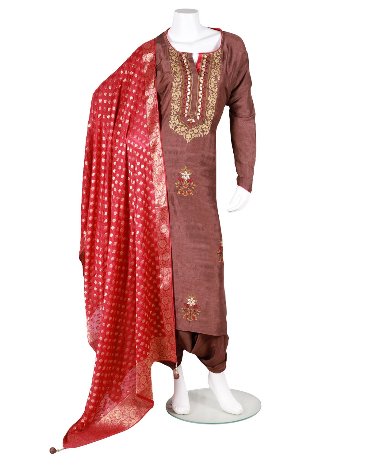 pure bamberg tussar embroided and kiran dori work suit set