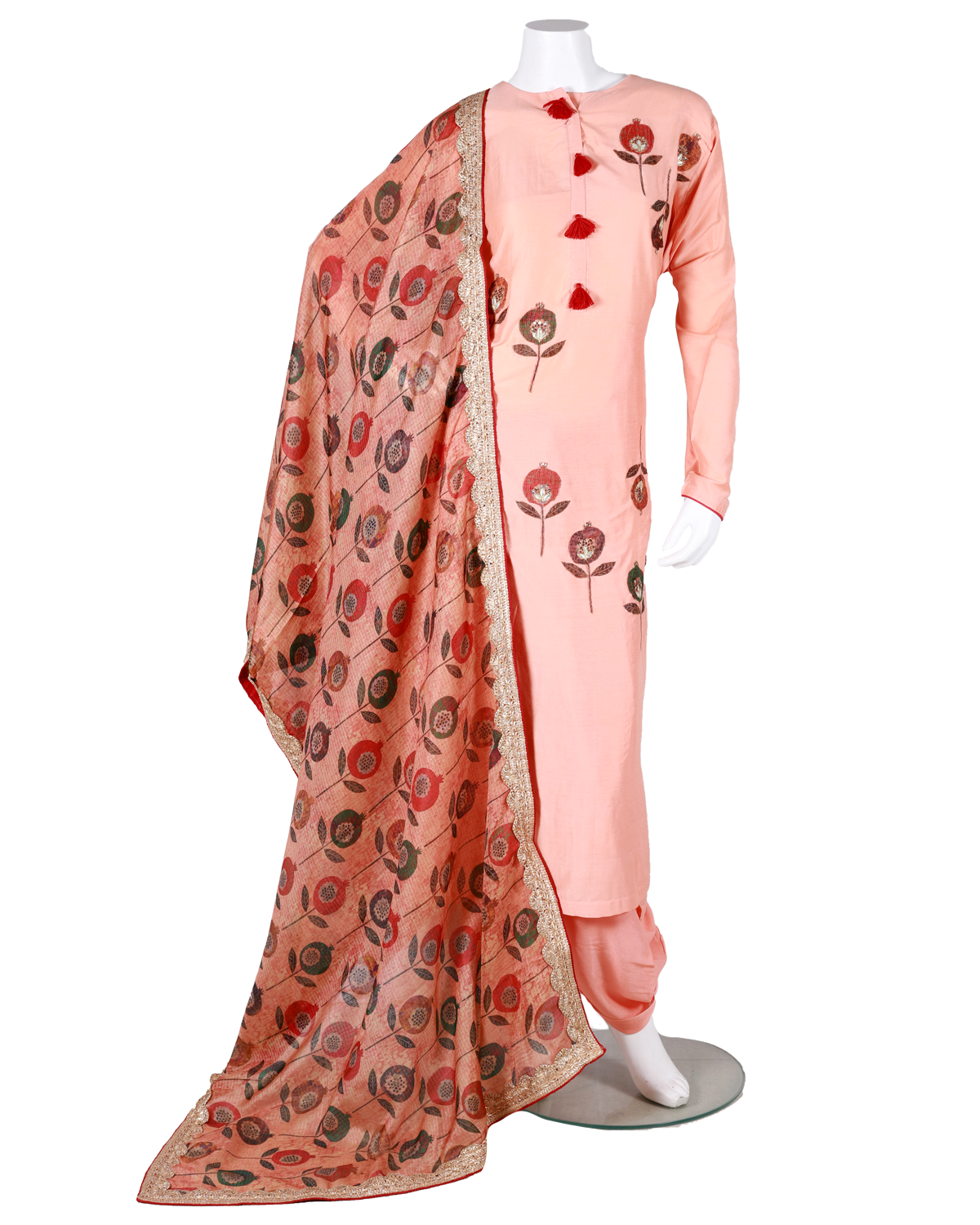 cotton silk shirt with digital patch work and digital dupatta