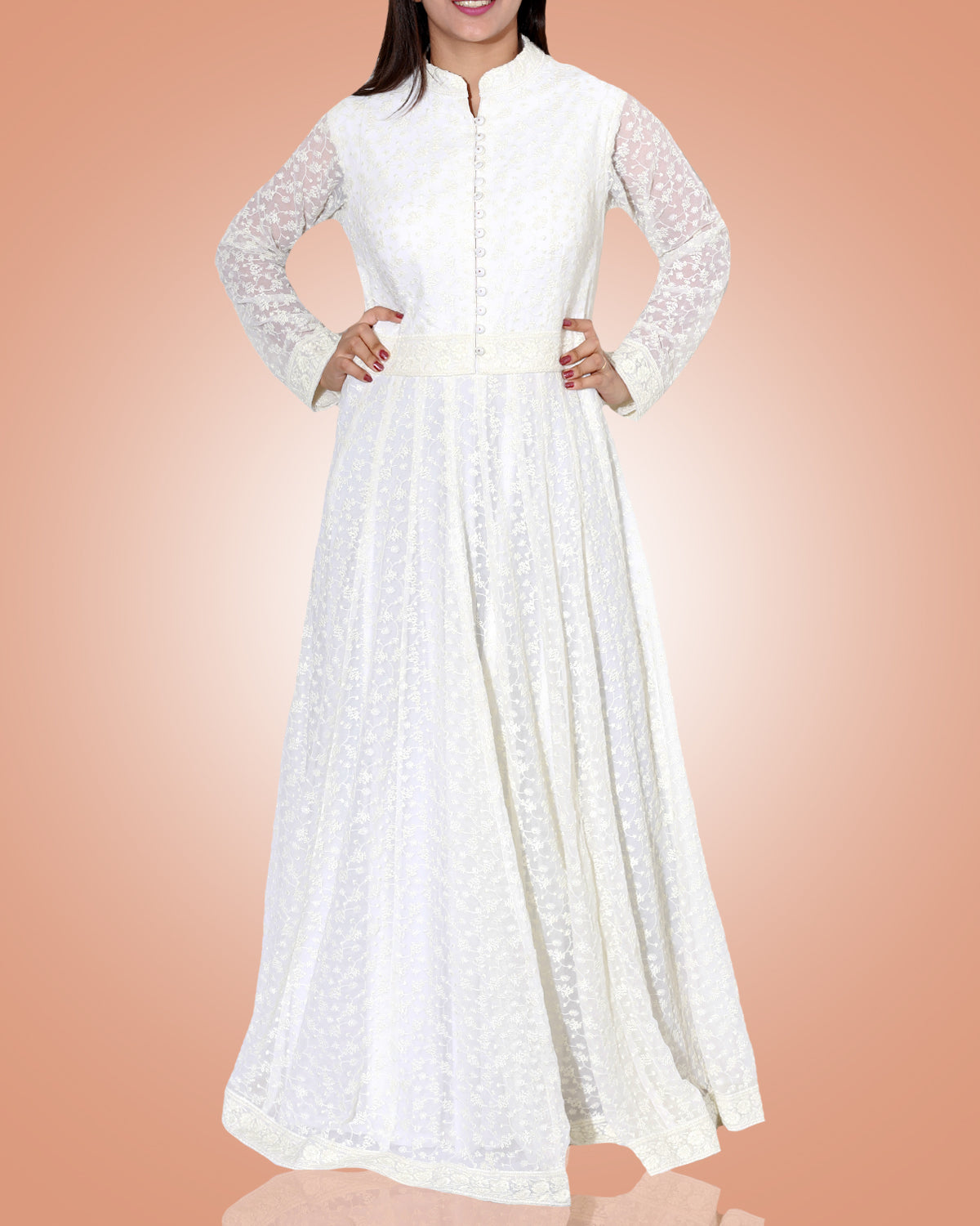 White Thread Work A Lined Long Tunic