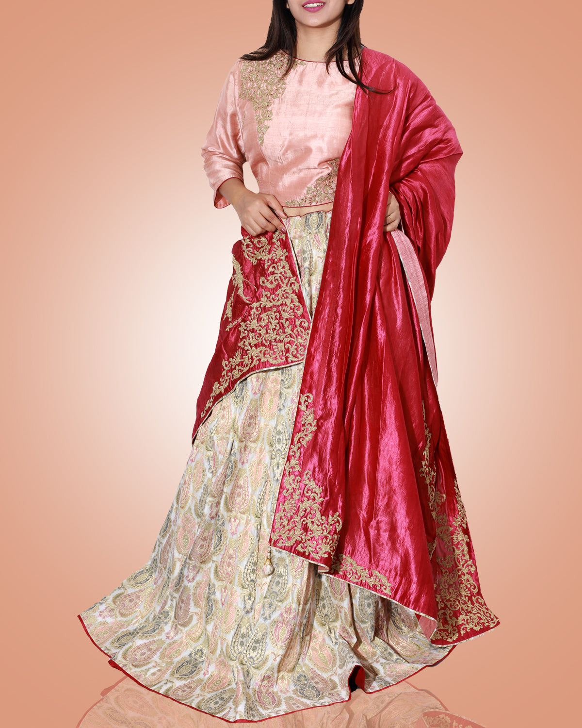 Gold and Pink Embroidered Chanderi Lehenga with Red Silk Dupatta