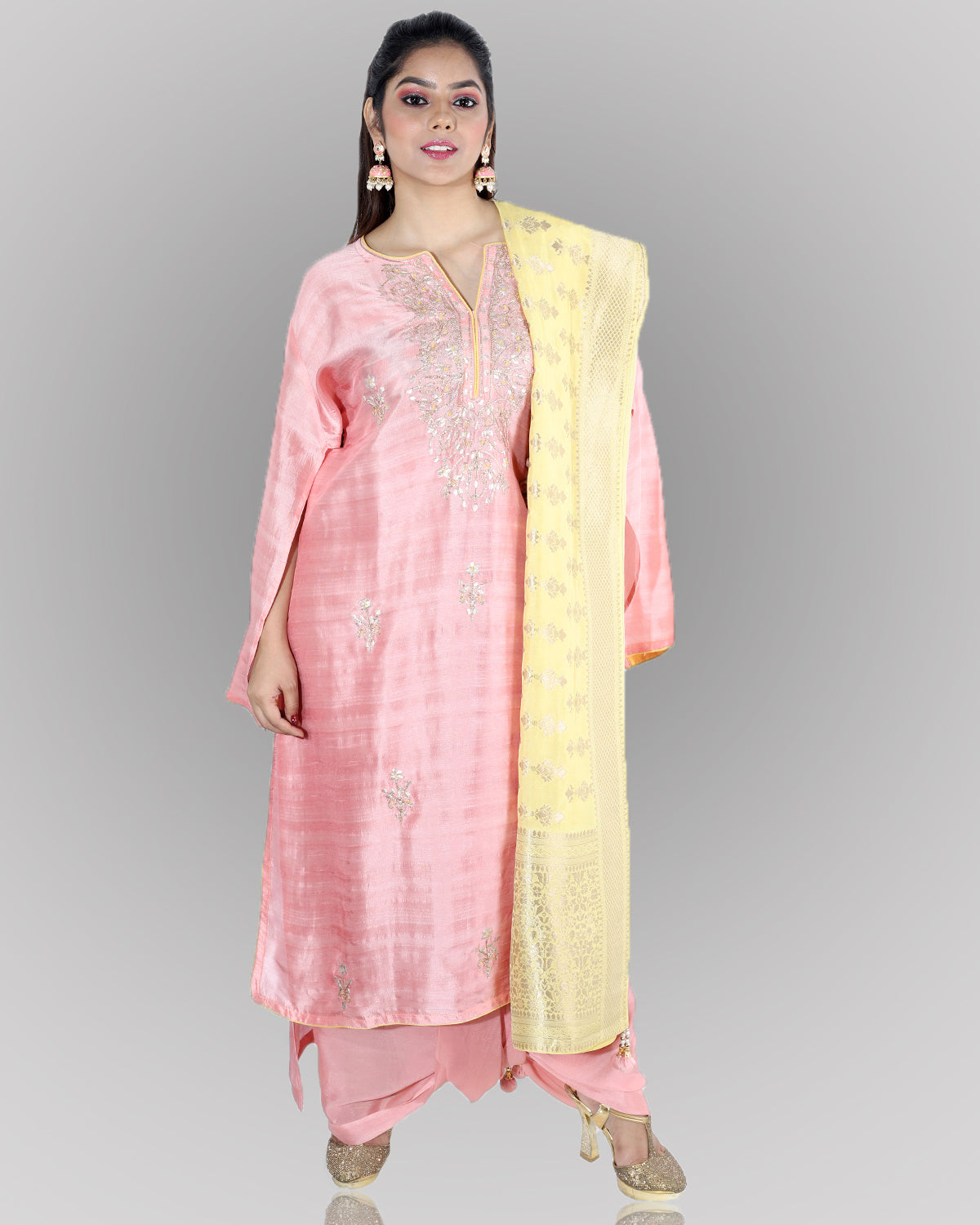 Semi-Stitched Pink Tussar Silk Suit Set