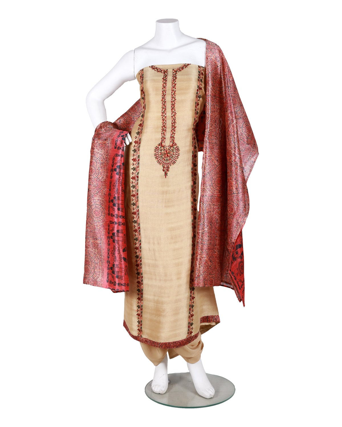 kashmiri embroided pure bamberg tussar suit