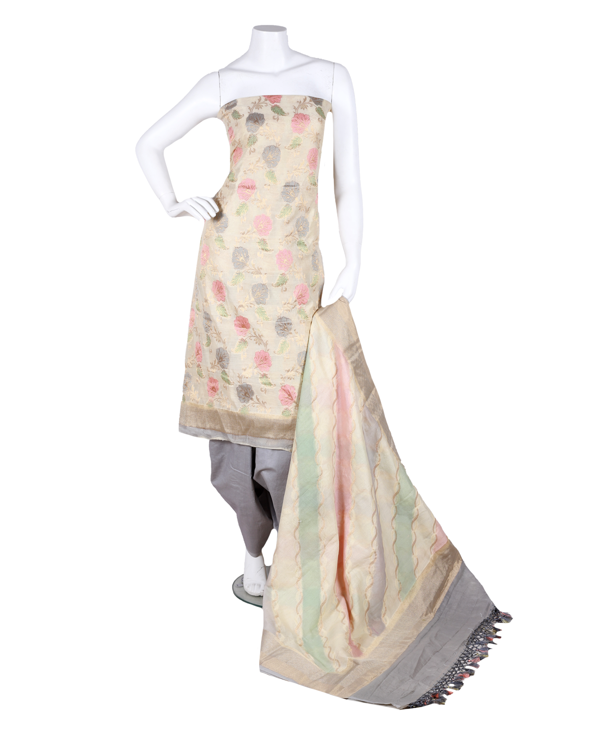 pure handloom chanderi suit with brush printing