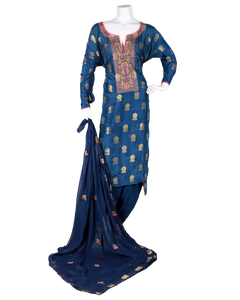 banarasi suit with embroided neck and dupatta