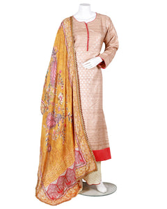 anarkali with silver printing and digital dupatta