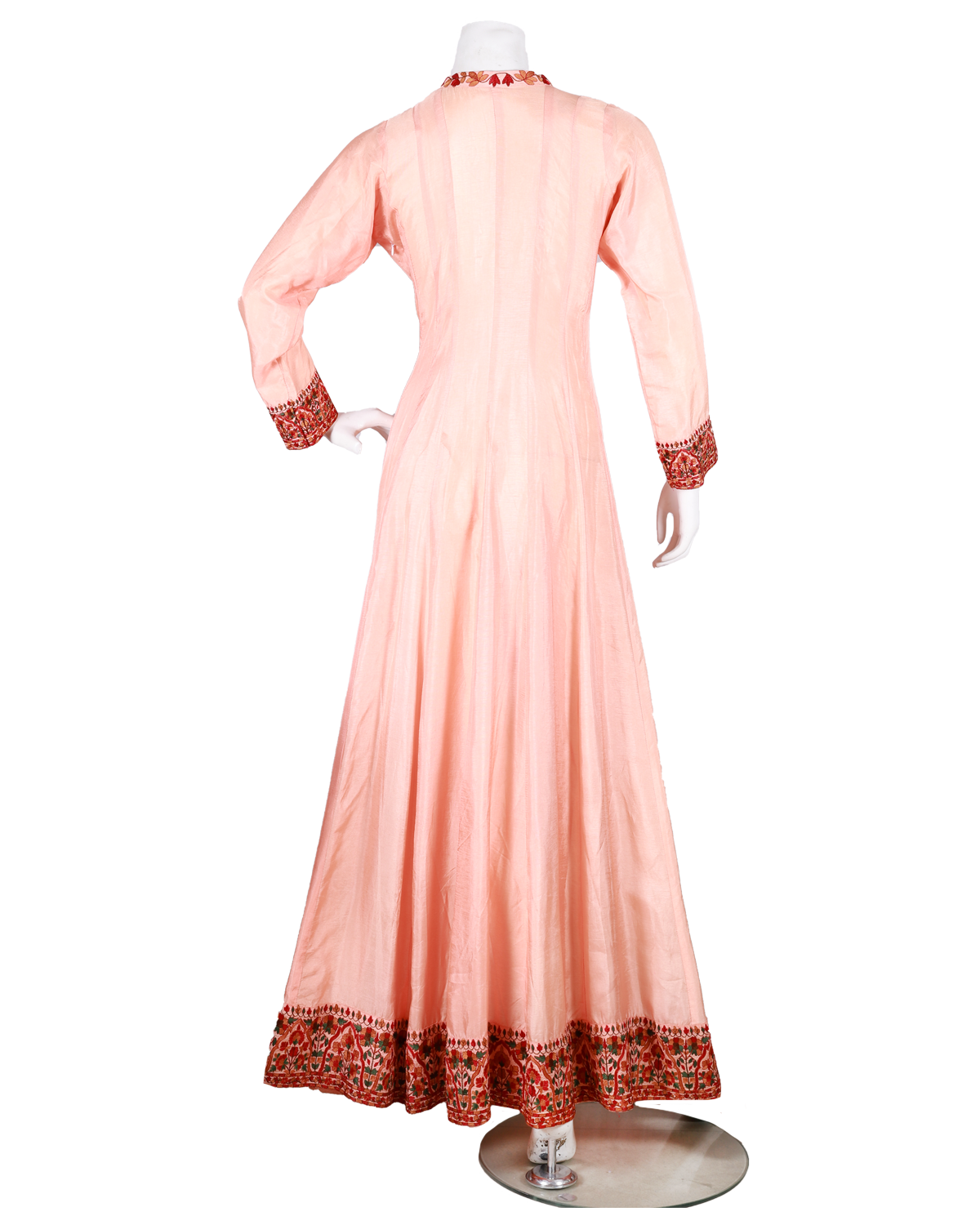 anarkali with kashmiri embroidery on neck and dupatta