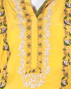 cotton silk hand-embroided shirt with block print dupatta