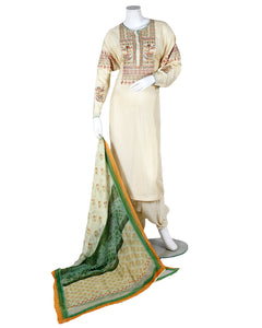 embroided suit with digital dupatta