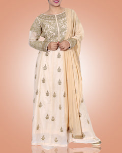 Ivory Anarkali Suit With Copper Gold Embroidery And Dupatta