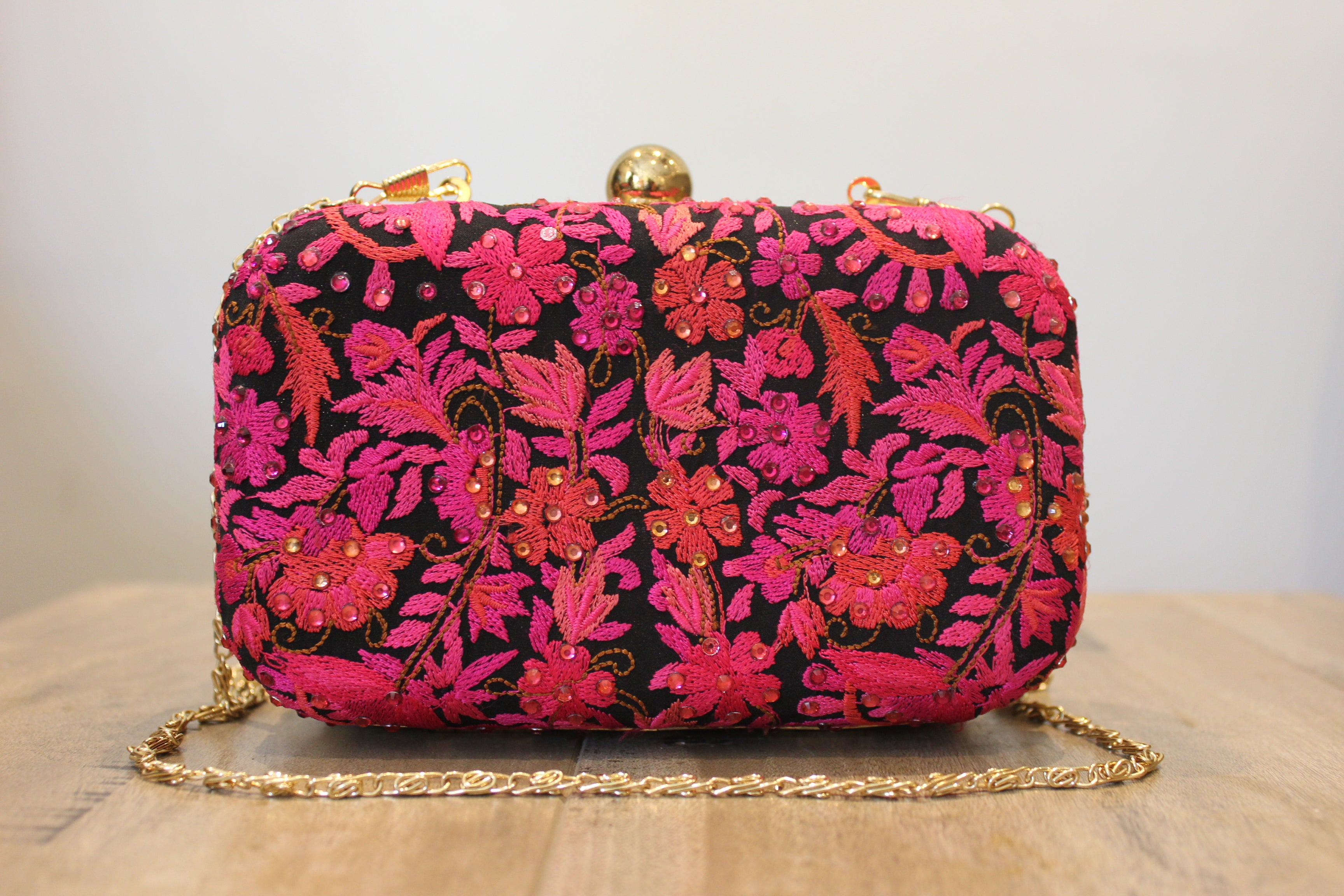 Pink And Black Floral Embroidered And Handwork Clutch