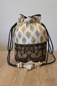Black And White Embroidered And Handwork Potli