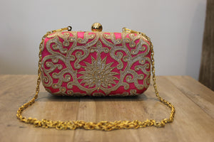 Pink And Gold Embroidered And Handwork Clutch
