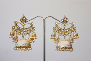 Ivory Enamel Jhumka Earrings With Pearls