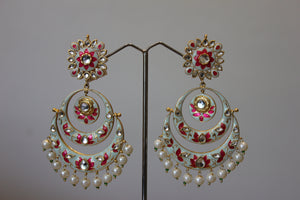 Blue And Pink Floral Enamel Earring With Pearls