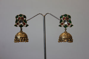 Red And Green Stones Jhumka With Gold Plating