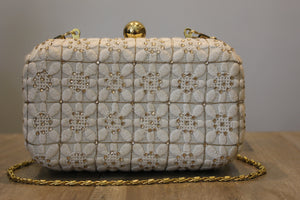 White Embroidered And Handwork Clutch