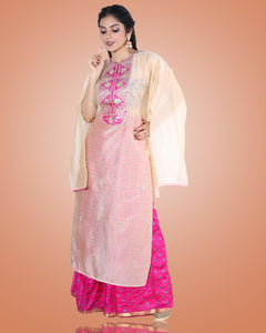 Semi Stitched Light Pink Tussar Kurta With Magenta Palazzo